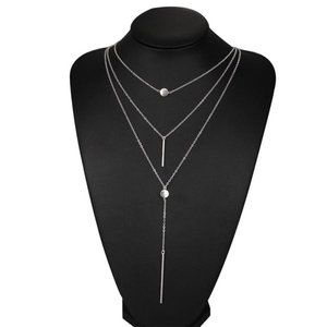 3/$20 New Silver Boho Long Layered Necklace
